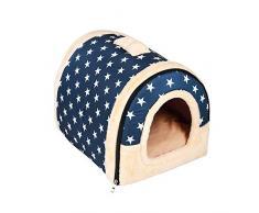 Enko Cuccia/letto 2 in 1 per animali domestici, portatile e pieghevole, elegante e comoda,per cani e gatti. (Medium, Blue)