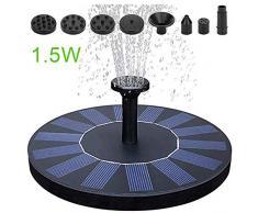 Fontana a zampillo a energia solare, 1,5 W, mini pompa galleggiante con quattro ugelli intercambiabili, adatta per fontane da piscina, fontane da giardino