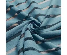 Wifehelper Blue Stripes Finestra Semitrasparente Cortina per Camera da Letto Balcone Tenda per Finestra (100 * 270CM)