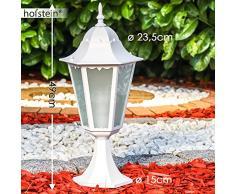 Lampioncino da Esterno Design Classico- Segnapasso da Terra in Alluminio Pressofuso Color Bianco con Paralumi in Vetro Satinato- Illuminazione Eleganete per Giardino Vialetto e Terrazza