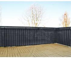 Schermo da giardino in polyrattan, balcone o steccato, tagliabile, incl. portacavi, antracite, 5 x 0,9 m