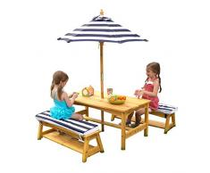 Kidkraft 106 - Tavolo con Panche in Legno, Cuscini e Ombrellone, Arredamento da Giardino per Bambini, Righe Blu Scuro e Bianco