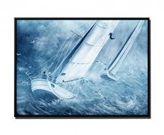 105 x 75 cm quadro - colore blu Petrol - su tela inkusive Ombra fugen cornice nero - Pittura Barca a vela regata