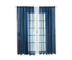 Tenda per finestra in voile di tulle con stelle, tessuto moderno per camera da letto dei bambini o soggiorno, tenda trasparente, blu navy