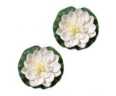 2PCS artificiale galleggiante schiuma fiore di loto ninfea e foglie di loto decorazione per esterni giardino laghetto laghetto luce notturna decorazione piscina bianco