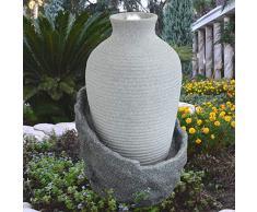 Fontana Giardino Fontana Interni Fontana da Giardino Fontana con LUCI A LED Radici di Albero E Cascata in Pietra (Fontana con Luce a LED ANFORA Corfu)