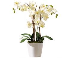Pureday Pianta Artificiale Orchidea con Vaso di Ceramica Bianca