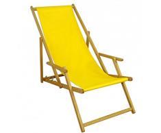 Sedia a sdraio, lettino da giardino giallo sole Lettino Sdraio legno sedia a sdraio Mobili da giardino in legno di faggio 10 – 302 N
