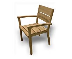@ HeimMöbel,: AC Corsica in sedia con braccioli, Teak non trattato, impilabile, gradlinig sedia da giardino, Sedia da pranzo