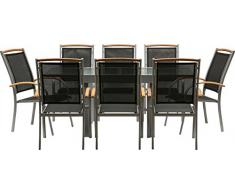 IB-Style - Mobili da gardino DIPLOMAT   6 variazioni   1x tavolo 90 - 180cm + 8x sedia impilabile in argento / nero / teak   grouppo - set - lounge - resistente alle intemperie