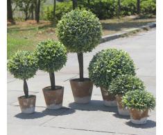 Reka Pianta Artificiale Verde Decorativo di plastica w/Stile Rustico Marrone Ceramica Planter Pentola Contenitore Verde