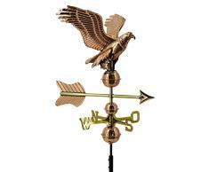 Linneborn Metallwaren GmbH - Aquila segnavento 3D, con fissaggio universale, in rame 55 cm, indica la direzione del vento sul tetto
