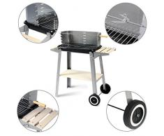 Woltu CPZ8116sz Barbecue con Ruote Paravento Griglia a Carbone per Balcone Giardino Campeggio Legno Acciaio Inx