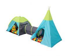 Tenda giocattolo POCAHONTAS per bambini + Tunnel + 200 Palline Colorate   per bambini e bambine   Casetta gioco per interni ed esterni   Incl. borsa per il trasporto