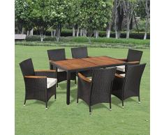 Set mobili da giardino in polirattan 6 sedie e tavolo con piano di legno