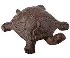 Esschert Design - Statua Decorativa da Giardino, in ghisa, a Forma di Tartaruga, Varie Misure Disponibili, Colore: Marrone, Marrone, 18,8 cm