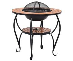 Tidyard Tavolo con Braciere a Mosaico in Ceramica,Barbecue Griglia in Stile Anticato,Grill,Brace,Barbecue Balcone,Barbecue da Giardino,Accessori Barbecue,Barbecue a Carbone 68x68x60 cm