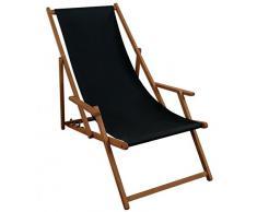 Sedia a sdraio nero sedia a sdraio da giardino sdraio Legno Sedia A Sdraio Spiaggia Sedia in legno massello mobili da giardino 10 – 305