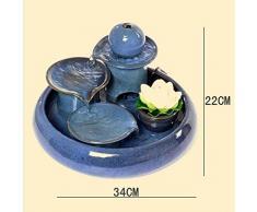 Liu Yu·spazio creativo,Creativo blu casa ceramica fortunato fontana di acqua umidificatore feng shui acquario rotondo