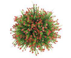 Arbusti artificiali Houda, finti cespugli di foglie di eucalipto in plastica, simulazione piante verdi da interno/esterno per casa, giardino, ufficio, veranda, decorazione nuziale, 4 pz Rose Red
