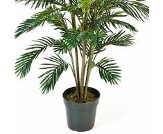 artplants - Palma Areca artificiale con base cementata, 53 fronde, 180 cm - Pianta decorativa / Albero tropicale