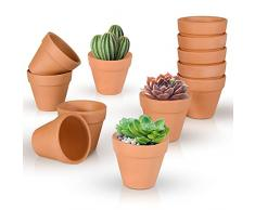 Ulikey Vasi in Terracotta, 12pcs Vaso di Fiori, Piante Vaso in Terracotta, Mini Vasi di Fior, Vaso per Piante Grasse, Fioriera in Terracotta per Fiori, Piante Grasse Cactus e Bonsai