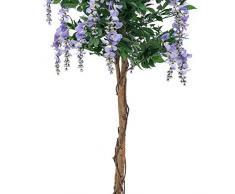 Maggiociondolo decorativo con 2170 foglie, tronco naturale, 1510 fiori, lilla, 240 cm - Maggiociondolo artificiale / Pianta ornamentale - artplants