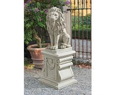 Design Toscano Mansfield Manor Leone Sentinella Statua animale, poliresina, pietra antica, 53,25 cm