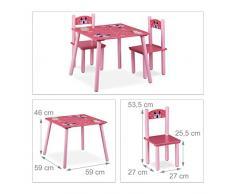 Relaxdays Funny Arredamento/Tavolino e Sedie per Bambini, Legno, Rosa, 59 x 59 x 53.5 cm