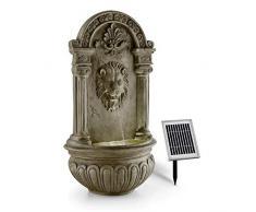 Blumfeldt Löwenstein Fontana Decorativa da Giardino A Muro con Pannello Solare (Zampillo d'Acqua, Poliresina Roccia, Illuminazione LED) Finta Roccia