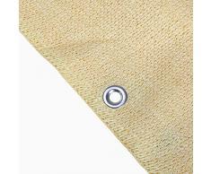 BAKAJI Tenda da Sole Telo Parasole in HDPE Resistente Protezione UV 90/% per Balcone e Veranda con Anelli di Aggancio Beige 140 x 250 cm