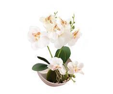 Flikool 3 Stelo Orchidea Artificiale in Vaso di Plastica Phalaenopsis Fiori Artificiale Finta Orchidee Bonsai Piante Artificiali per Casa Balcone Festa Nuziale Decorazione - Bianco