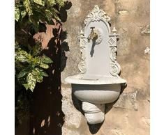 chemin_de_campagne - Fontana da giardino, da parete, in ghisa, 75 x 44 cm, colore: Bianco