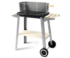 Woltu CPZ8116sz Griglia a Carbone Barbecue BBQ Carrello Grill con Ruote per Picnic in Balcone Giardino Acciaio Inox + Legno 83x45x87cm