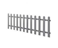 neu.holz] Steccato per Giardino Recinzione WPC Legno Composito 200 x 60 cm con 12 Doghe Grigio