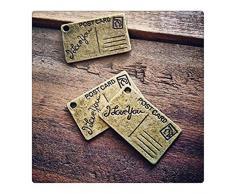 4 – Cartolina ciondoli di cassetta postale bronzo anticato, da viaggio, stile Supplies