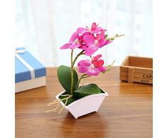 Simula l'orchidea della farfalla con la decorazione dell'ufficio del giardino domestico conservata in vaso pianta artificiale del vaso da fiori