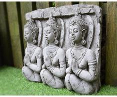 Placca da muro con 3 Buddha, in pietra artificiale fabbricata a m mano, decorazione da giardino, statua, scultura Thai/Koi