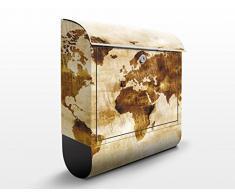 Cassetta postale design no.CG75 Map of the World 39x46x13cm, Größe:46cm x 39cm