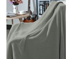 """Piccocasa, coperta 100% cotone lavorato a maglia, morbida e resistente, coperta decorativa per divano, camera da letto, Gray-without Tassels, 60"""" x 78"""""""