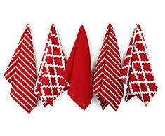 Penguin Home 3050 100% Set di 5 Design Assortiti Strofinacci, Cotone, Rosso, 65 x 45 x 0.5 cm, Asciugamano da 5 pezzi