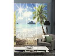 Home fashion 88056-106 - Tenda a Pannello, Soggetto: Mare, Stampa Digitale, Set da 3 Pezzi, in Tessuto, Blu, 245 x 60 x 245 cm