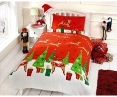Renna di Natale Bambini Regali di Natale Junior Copripiumino e Federa Bambini Set di Biancheria da Letto, Multicolore