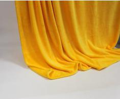Lifestyle Products - Coperta in microfibra, extra spessa con effetto seta/cashmere, ca. 150 x 200 cm, vari colori, Poliestere, giallo, 150 x 200 cm