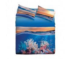 Gabel Underwater Lenzuolo Copriletto Matrimoniale, Azzurro Chiaro, 250 x 290 cm
