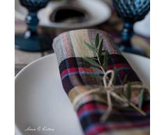 Linen & Cotton Lusso Tovaglioli da Tavola di Stoffa a Quadri Curtis - 100% Lino, Giallo Bordeaux Rosso Blu (42 x 42 cm) Colorati a Quadri Moderni Quadrati per Cucina Natale Ristorante Tavolo da Pranzo
