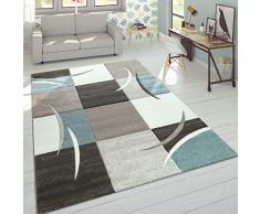 Designer Tappeto Moderno Taglio Sagomato Colori Pastello con Motivo A Quadri in Beige Turchese, Dimensione:120x170 cm