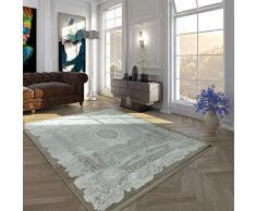 Acrilico Tappeto Pelo Corto Pregiato Vintage Look Oriente Estetica Frange Beige Crema, Dimensione:160x230 cm