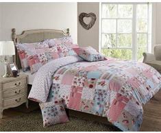 Rosa bianco blu patchwork floreale matrimoniale misto cotone piumone copertura