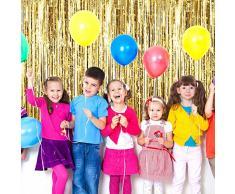 3 Pezzi Tende Orpello Metallico, Frange di Lamina Scintilla Decorazione della Tenda Porta Finestra per Festa di Compleanno Matrimonio (Oro)